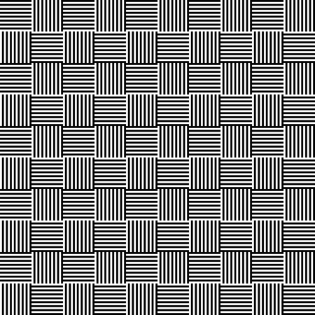 bw: Lines repeatable geometric pattern (mosaic of lined squares) Illustration