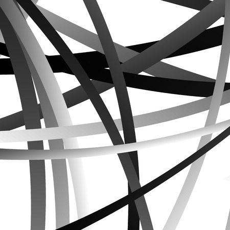 asymmetry: Overlapping random curved lines  shapes grayscale geometric pattern. Artistic illustration