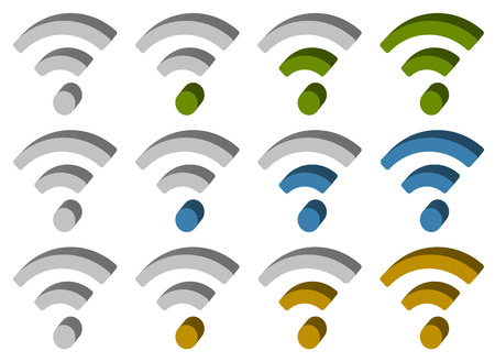 wireless connection: Signal (wireless connection, wifi, wireless internet) signs, symbols. Icons for aerial, cordless communication, data transfer