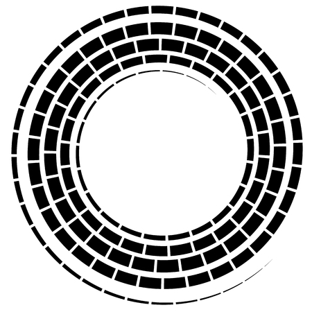 Black spiral element with dashed  segmented line on white Illustration