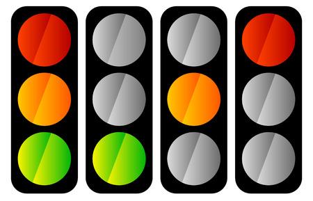 trafic stop: Simple traffic light  traffic lamp icon set Illustration