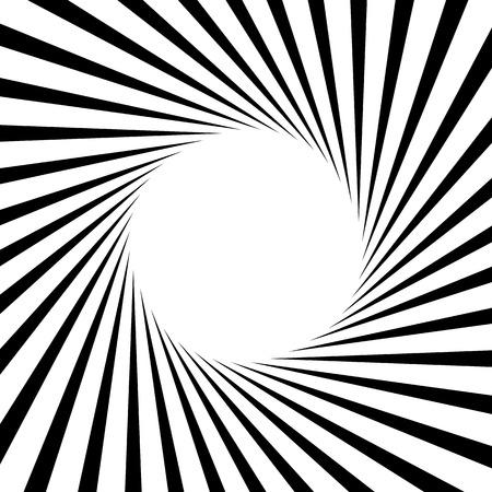 Circular, stripes lines geometric pattern. Monochrome illustration. Illustration