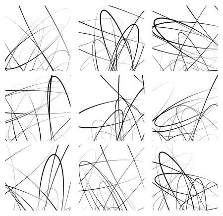 modernism: Random lines artistic element  pattern set. Non figural monochrome geometric compositions.