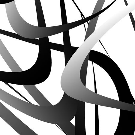 monocrome: Overlapping random curved lines  shapes grayscale geometric pattern. Artistic illustration