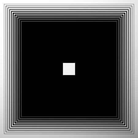 intense: Radiating, expanding squares. Geometric monochrome, black and white element