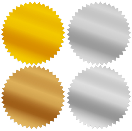 platinum: Gold, silver, bronze and platinum seals, awards, starbursts