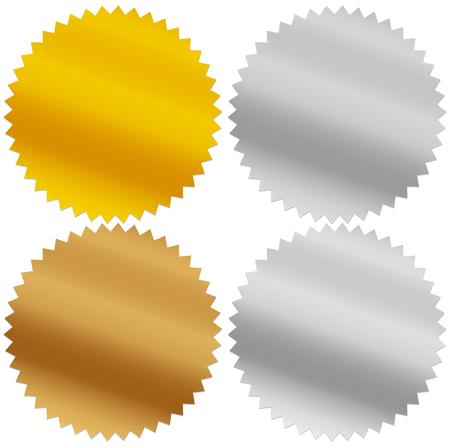 metalic sheet: Gold, silver, bronze and platinum seals, awards, starbursts