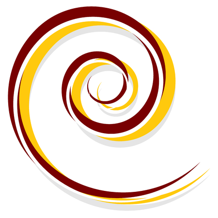 volute: Abstract spiral decoration element in red and yellow Illustration