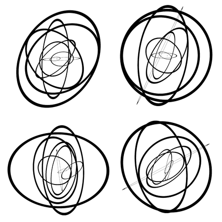 forming: Random circles, ovals forming squiggly lines. Abstract artistic - geometric element.