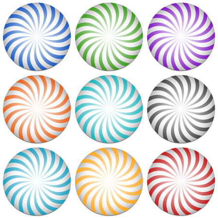 revolved: Spirally lines starburst badges. Abstract design elements. 9 color.