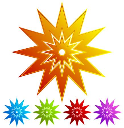 Sparkle, flash shape in 5 colors - Colorful, retro design elements