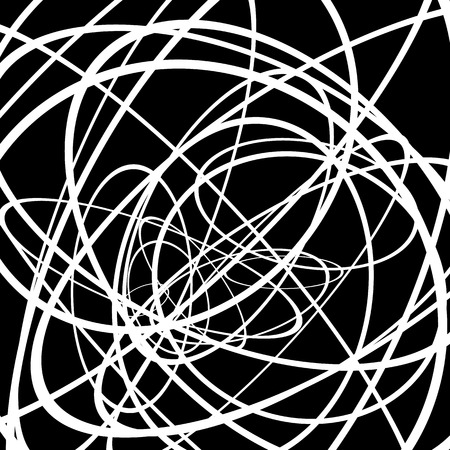 blackwhite: Random circles, ovals forming squiggly lines. Abstract artistic - geometric element.