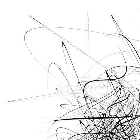 chaotic: Monochrome random chaotic squiggle lines abstract artistic pattern