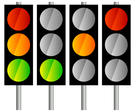 trafficlight: Simple traffic light  traffic lamp icon set Illustration