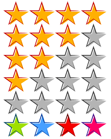 classify: Star rating - Review, rate, ranking element with 4 star Illustration