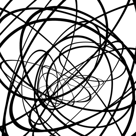 snaky: Random circles, ovals forming squiggly lines. Abstract artistic - geometric element.