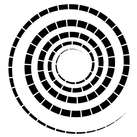 segmented: Black spiral element with dashed  segmented line on white Illustration