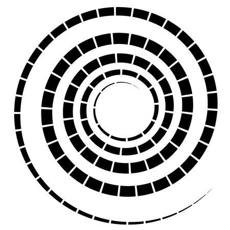 elemento en espiral negro con línea discontinua  segmentado en blanco Vectores
