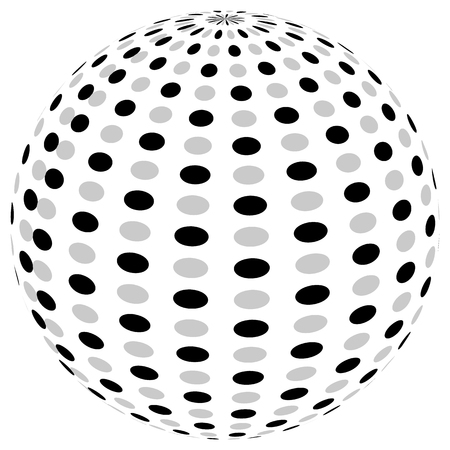 3d sphere orb with textured grayscale surface on white. Abstract 3d object Illustration