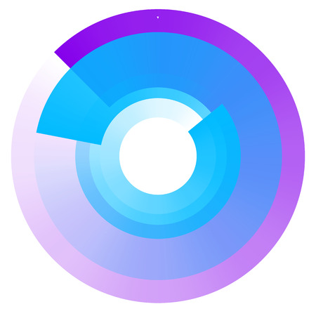 Fading concentric circles. Geometric circular element with transparency Illustration
