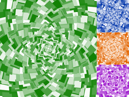 epicentre: Irregular spirals made of squares. Rotating, swirling assymetric geometric pattern.