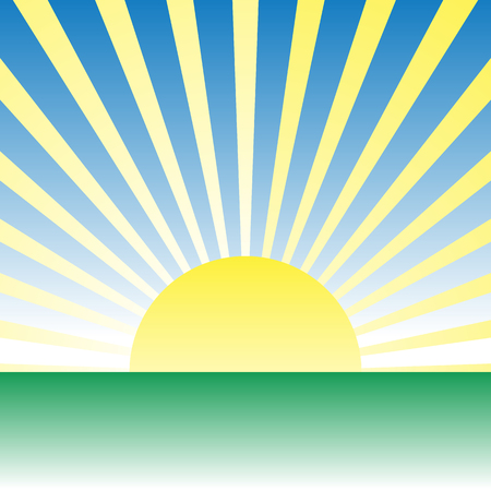 uncultivated: Sunrise, dawn over green meadow. Vector drawing Illustration