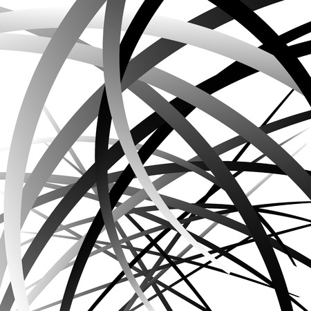 snaky: Overlapping random curved lines  shapes grayscale geometric pattern. Artistic illustration
