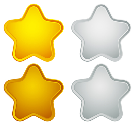 gold silver bronze: Gold, silver, bronze, platinum star shapes isolated on white