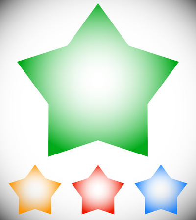 Transparent star elements. Star shape in 4 color