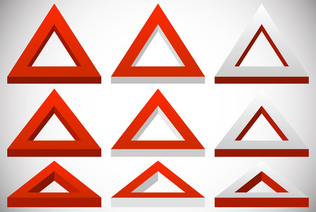 tilting: 3d triangle shape in more colors set at different angles Illustration