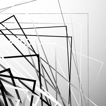 Random chaotic squares abstract geometric element. Monochrome geometric art. Vektoros illusztráció