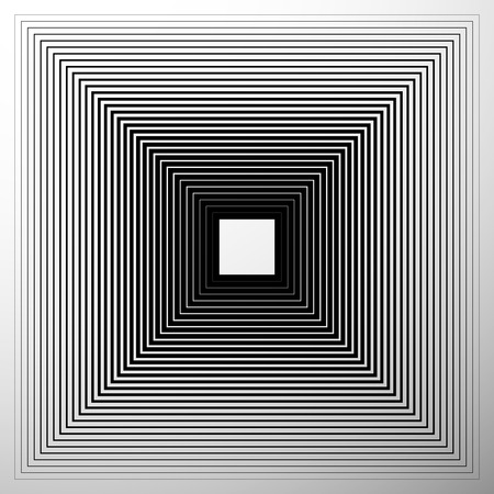 expanding: Radiating, expanding squares. Geometric monochrome, black and white element
