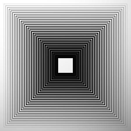 expanding: Radiating, expanding squares. Geometric monochrome, black and white element