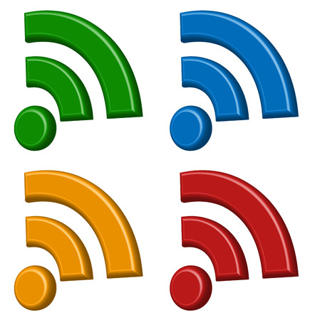 Signal (wireless connection, wifi, wireless internet) signs, symbols. Icons for aerial, cordless communication, data transfer