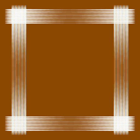 Minimal geometric frame with intersecting lines over wooden  brown background. Square geometric frame with blank space.