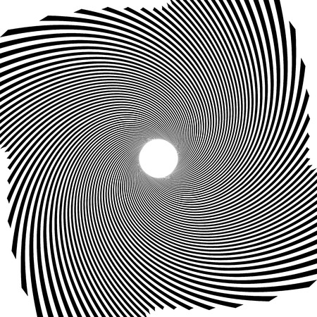 Circular radial linese geometric pattern. Converging - radiating lines with spiral, swirl distortion effect. Black and white abstract monochrome illustration
