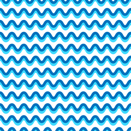billow: Wavy lines seamless repeatable pattern in aqua, blue colors Illustration