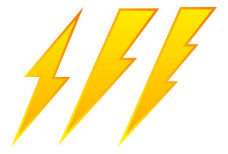 bolt: Set of 3 lighting bolt, spark icon. Electricity signs.