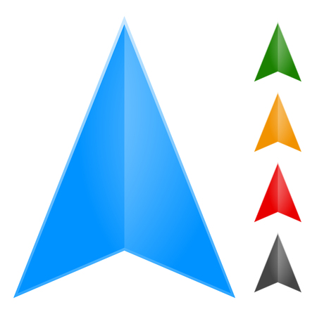 geocaching: Gps arrow - pointer icon in 5 color (Change it to new colors easily) Illustration