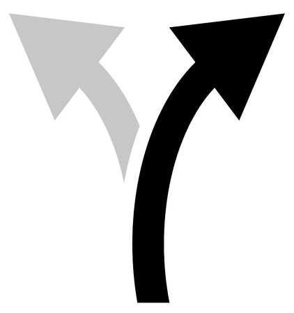 dilema: Two way arrow symbol, arrow icon. Curved arrows left and right