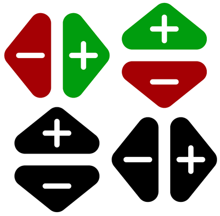 Arrows in opposite directions. Symbol of arrows in pairs with plus, minus marks Illustration