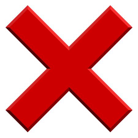 X Brief, X-Form mit Abschrägungseffekt. Verbote, Beschränkungen, zu löschen, zu entfernen, verbieten Symbol.