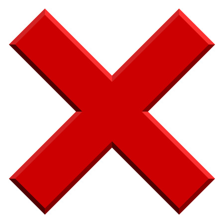X letter, X shape with bevel effect. Prohibition, restriction, delete, remove, forbid icon.