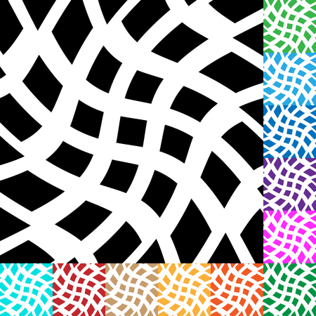 distortion: Grid, mesh with distortion. irregular grid in many colors
