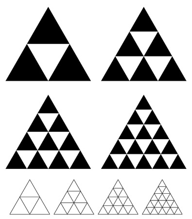 pinnacle: mosaic triangle elements with wireframe grid. tessellation, mosaic triangles Illustration