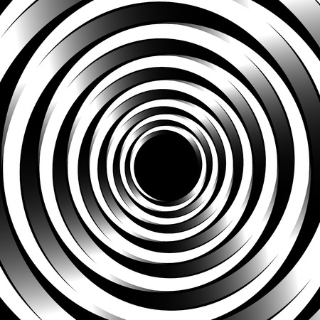 revolved: Geometric spiral pattern with concentric circles, rings. Abstract monochrome illustration. Illustration