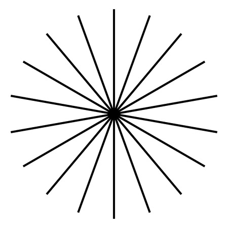 epicentre: Radiating, radial lines. Starburst, sunburst shape. Ray, beam lines merging, intersecting at center. Geometric circular abstract illustration. Illustration