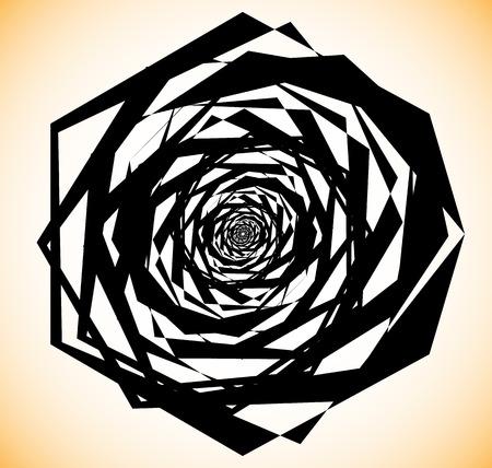 Geometric spiral-like shape. Random abstract edgy element. Illustration