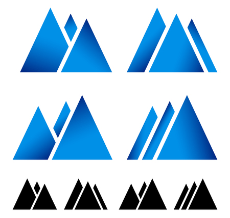 moutain climbing: Set of pike, mountain peek symbols for alpine, wintersport themes