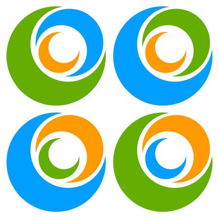 segmented: icon shape with 3 circles - Spiral, vortex  . Illustration